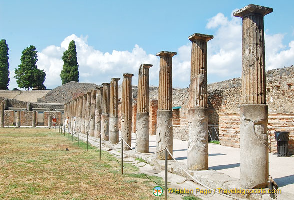Doric columns near the large Pompeii theatre