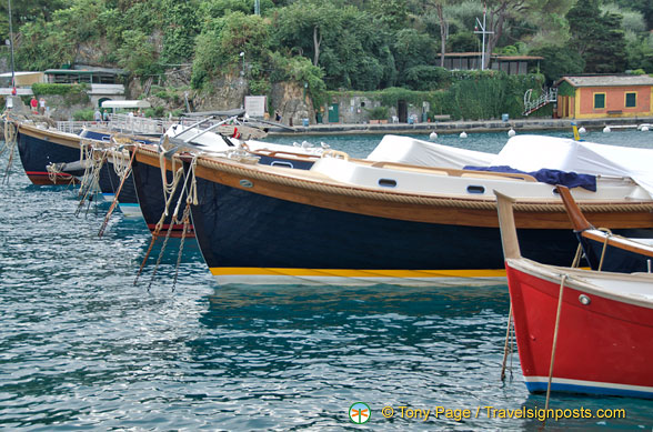 Beautiful painted boats in Portofino marina