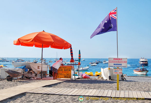 An Australian flag on the beaches of Positano