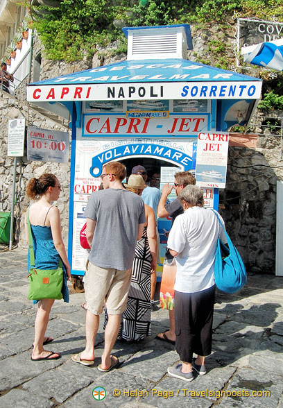 Ticket booth for Capri boat tours, Sorento and Naples