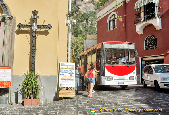 The Positano local bus stops just next to the Santa Maria Assunta parish church