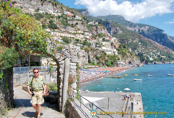 Tony walking up Via Positanesi for a higher view of Positano