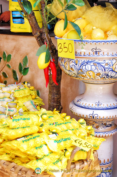 Plenty of lemon products in Positano