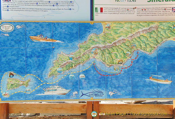 Map of boat trip from Positano to Capri