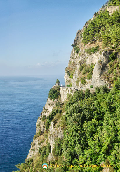 The hilly landscape of Positano