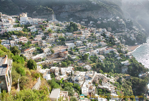 A view of Positano from the main road