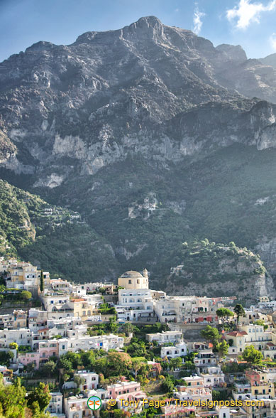View of Positano set against the hills
