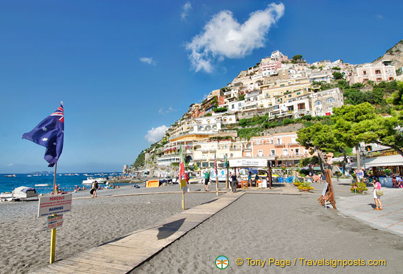 View of Positano town from the Spiaggia Grande