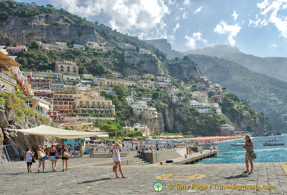 View of Positano from the western shorefront