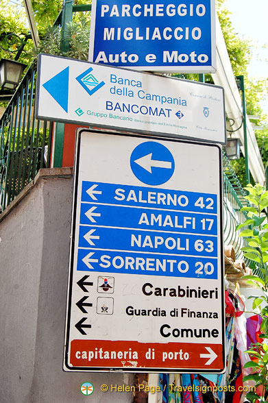 Directions and distances from Positano