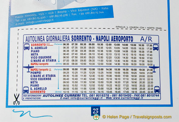 Bus schedule between Sorrento and Aeroporta Napoli