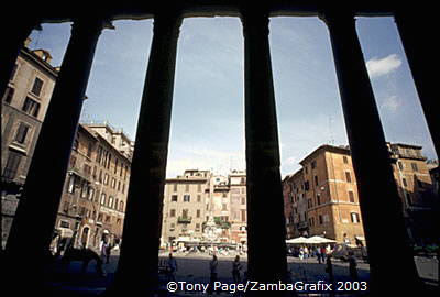 Looking out from the Pantheon