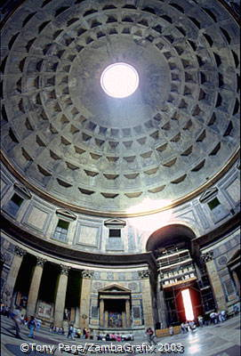 A fish-eye view of the Pantheon's Dome