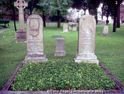 Graves of John Keats and his friend Joseph Severn