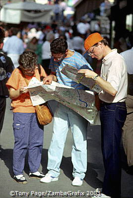 Tourists checking out their maps