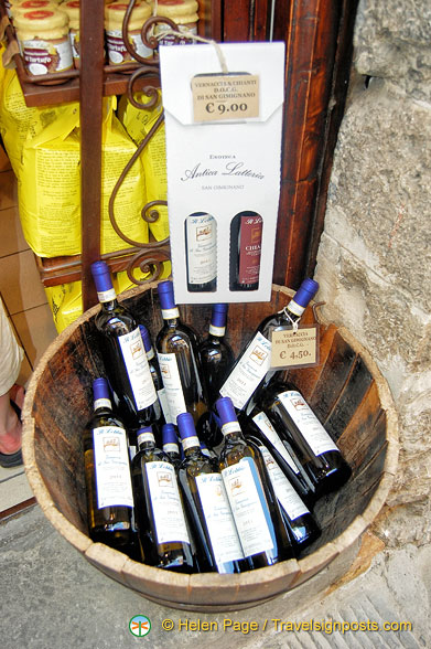 Bottles of the famous Vernaccia di San Gimignano