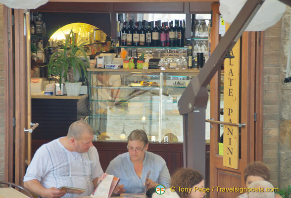 One of the many cafes in San Gimignano