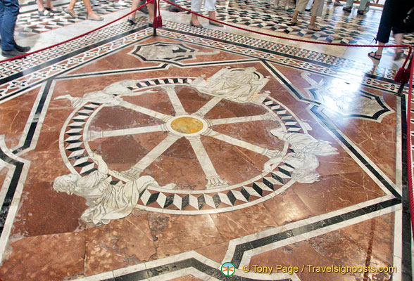 Inlaid marble flooring