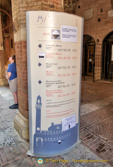 Information on visiting the Torre del Mangia, the Museo Civico and Temporary Exhibitions