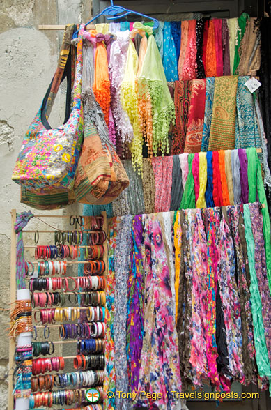 Colourful scarfs and bags
