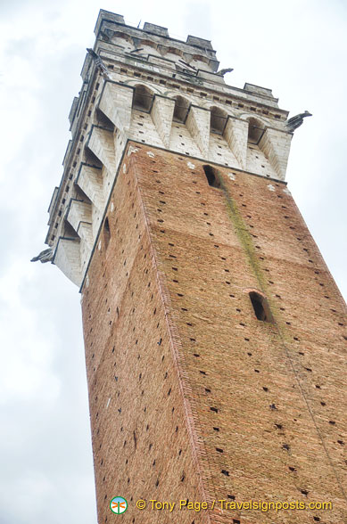 View of Torre del Mangia, the second highest medieval tower in Italy