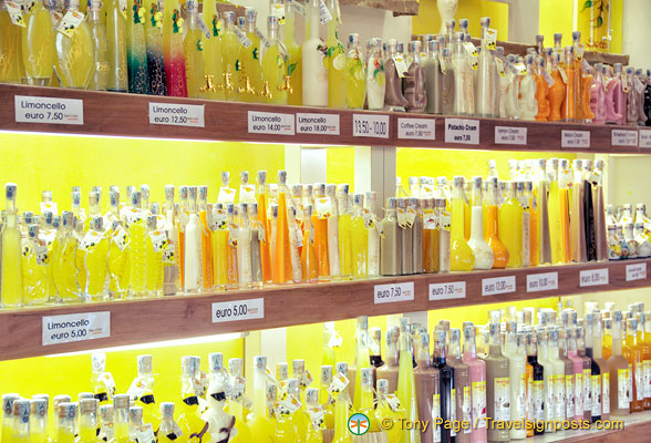 A shop full of limoncello and other liqueurs