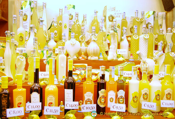 Bottles of limoncello and other liqueurs