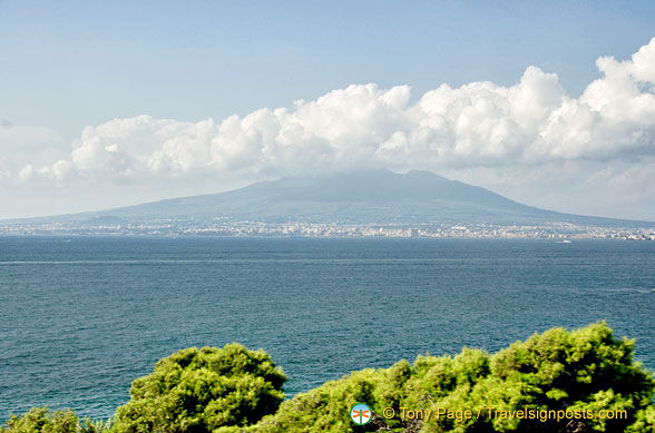 Distant view of Mount Vesuvius