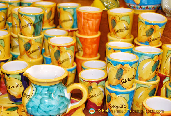Ceramic cups and jugs for your Sorrento limoncello