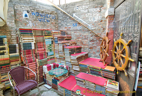 A staircase made of books