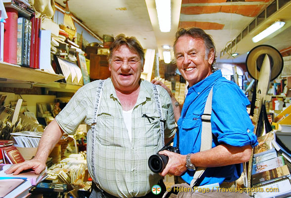 Tony with Luigi Frizzo, the friendly owner of Libreria Acqua Alta