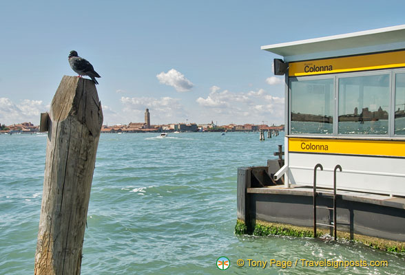 Murano Colonna is the first vaporetto stop in Murano