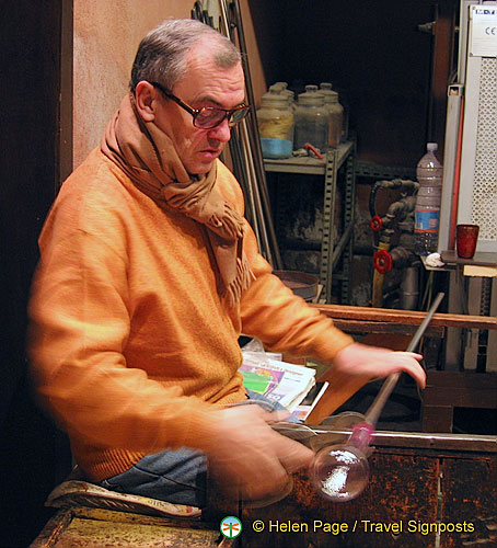 Murano glass artisan at work