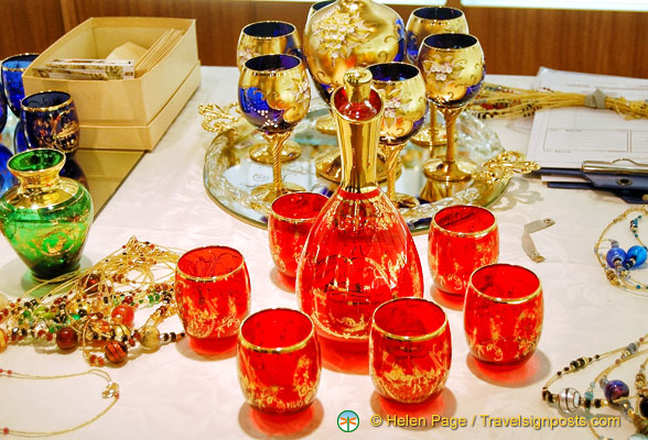 Murano glass goblets and glasses