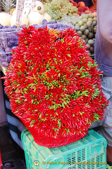 Decorative bunches of chilli