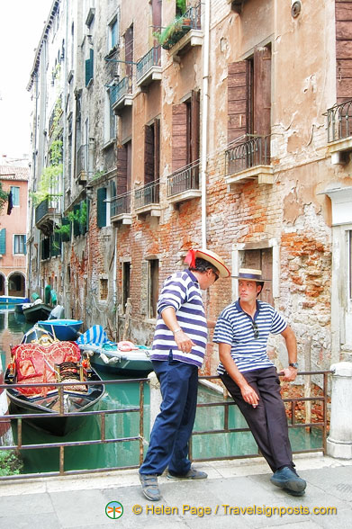 Gondoliers having a break