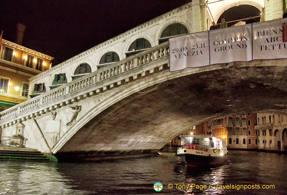 A night view of Rialto Bridge