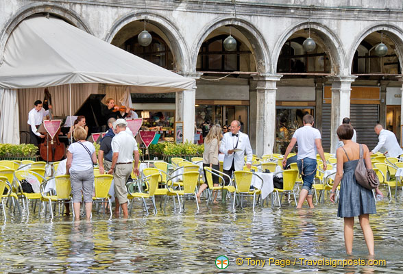 Business as usual at the Cafe Lavena on Piazza San Marco