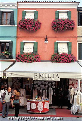 Shops selling Burano's famous lace and linen
