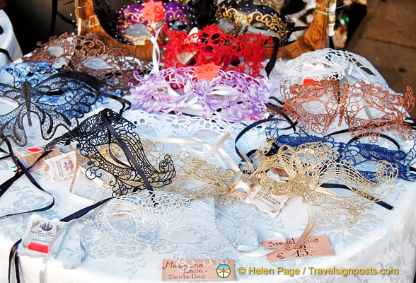Venetian masks made of Burano lace