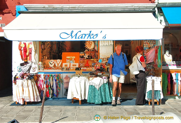 Marko's one of the many shops on Burano