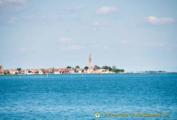 Approaching Burano and its leaning tower