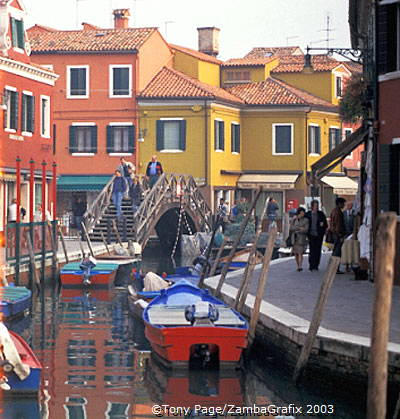 Houses along Burano's waterways