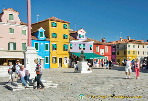 The main square of Burano dedicated to Baldassare Galuppi
