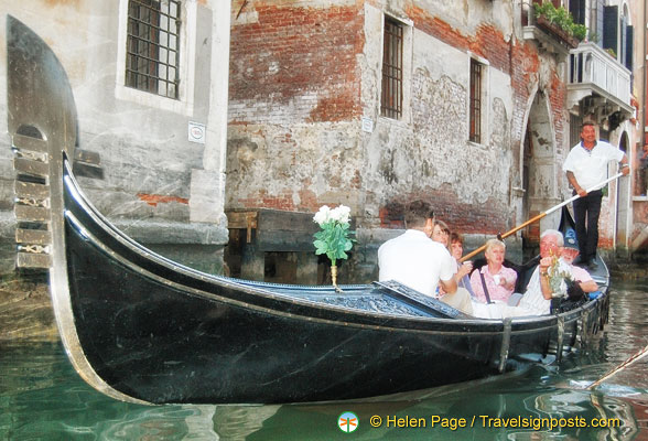 A gondola with flowers