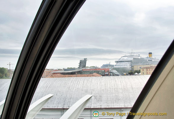 View of cruise ships from the People Mover