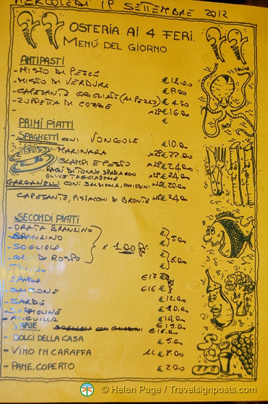 Osteria Ai 4 Feri - Menu of the Day