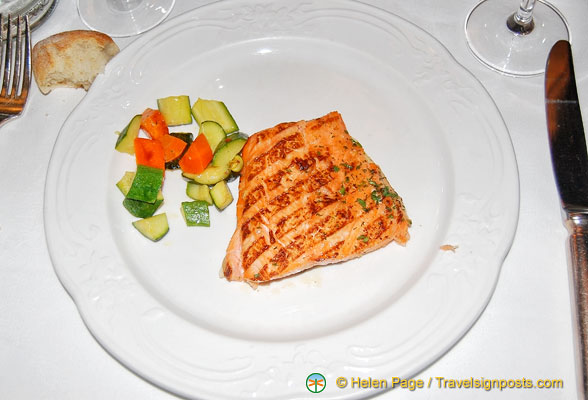Grilled salmon at Antico Pignolo was a bit dry