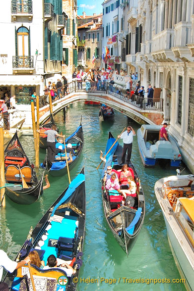 The very busy back canals of Venice