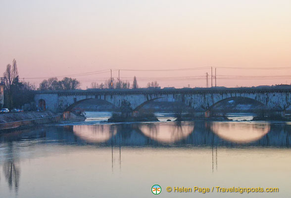 A wintry view of the Adige River (Fiume Adige in Italian)